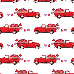 red vintage truck with hearts - valentines day - white