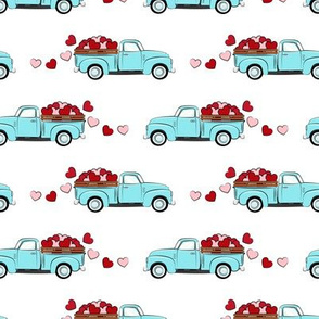 light blue vintage truck with hearts - valentines day - white