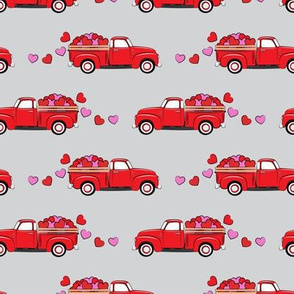 red vintage truck with hearts - valentines day - grey