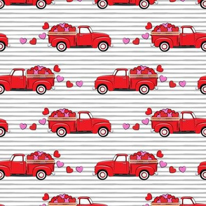 red vintage truck with hearts - valentines day - grey stripes