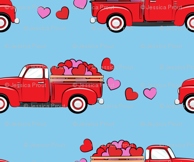 red vintage truck with hearts - valentines day - blue