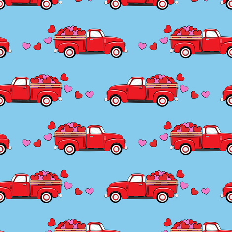 red vintage truck with hearts - valentines day - blue fabric by littlearrowdesign on Spoonflower - custom fabric