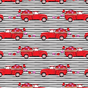 red vintage truck with hearts - valentines day - stripes