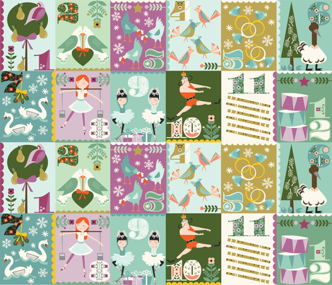 The Twelve Days of Christmas fabric by oliveandruby on Spoonflower - custom fabric