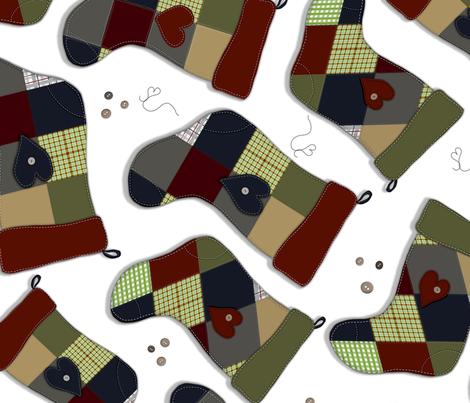 Granny's Patchwork  Stockings fabric by reneedavisdesign on Spoonflower - custom fabric