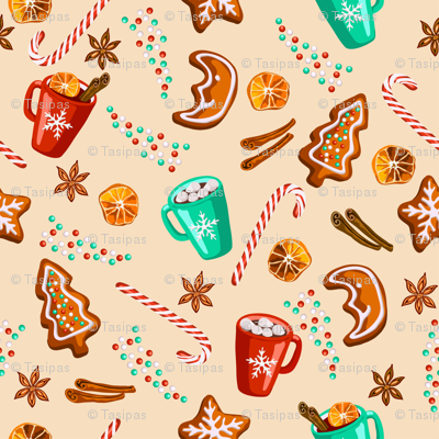 Christmas gingerbread cookies pattern