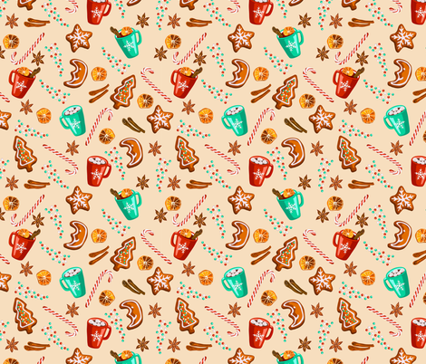 Christmas gingerbread cookies pattern fabric by tasipas on Spoonflower - custom fabric