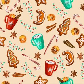 Christmas gingerbread cookies pattern