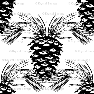 Pine Needles and Pinecones- Black and White