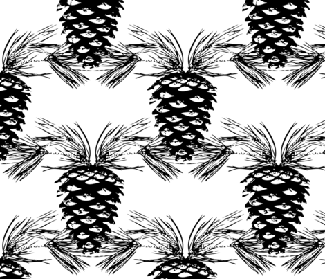 Pine Needles and Pinecones- Black and White fabric by krystalsavage on Spoonflower - custom fabric