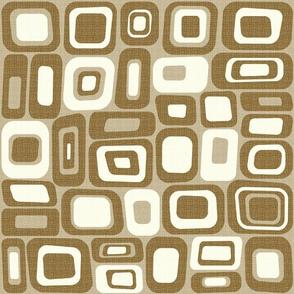Coco Brown Mid Century Modern Geometric Squ...
