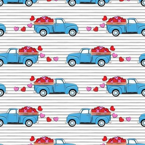 blue vintage truck with hearts - valentines day - grey stripes