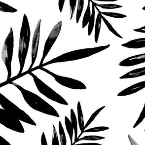 Botanical watercolor garden palm leaves summer beach monochrome black and white JUMBO