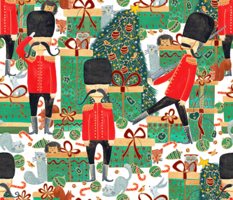 Pattern #100 - Guarding the gifts under the Christmas tree fabric by irenesilvino on Spoonflower - custom fabric