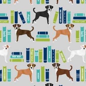 Boxer dog fabric, dog library fabric, dog and books fabric, cute dog fabric, boxer dogs