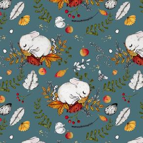 Autumn Bunnies & Mice blue