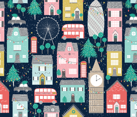 Christmas in London fabric by sarah_knight on Spoonflower - custom fabric