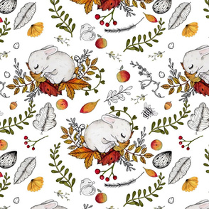 Dreaming Autumn Bunnies and Mice on white