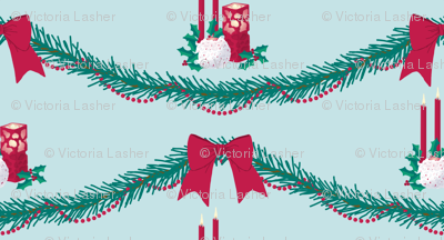 Christmas garland and candles
