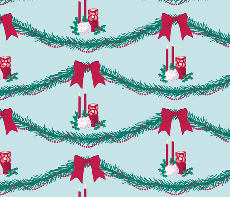Christmas garland and candles fabric by victorialasher on Spoonflower - custom fabric