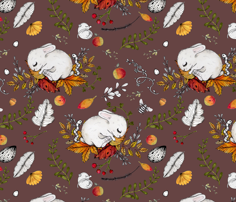 Cute Dreaming Bunnies & Mice fabric by urbanblossoms on Spoonflower - custom fabric