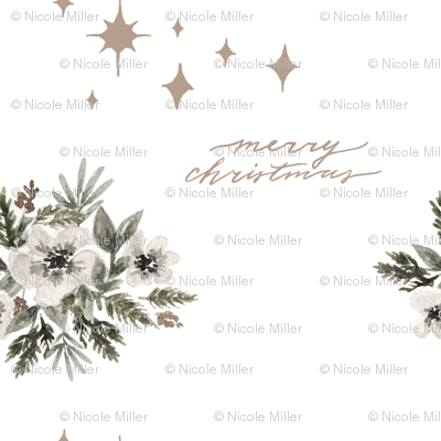Starry Floral Merry Christmas