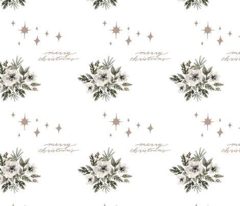 Starry Floral Merry Christmas fabric by coledawndesigns on Spoonflower - custom fabric