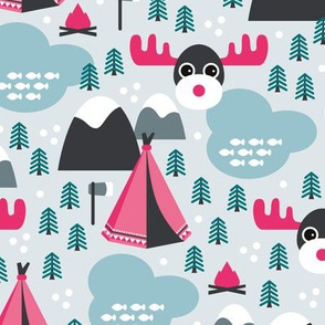 Little moose adventures woodland pine trees and wanderlust Canada theme for kids pink girls