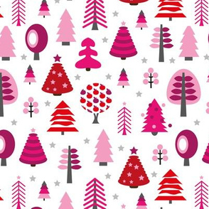 Colorful christmas tree forest and starry night happy holidays pink