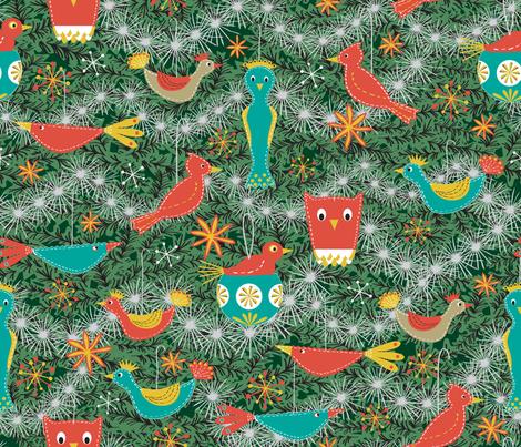 Felt Bird Ornaments fabric by vinpauld on Spoonflower - custom fabric