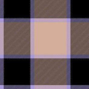 """medieval piper tartan - 6"""" peach, black and lavender"""