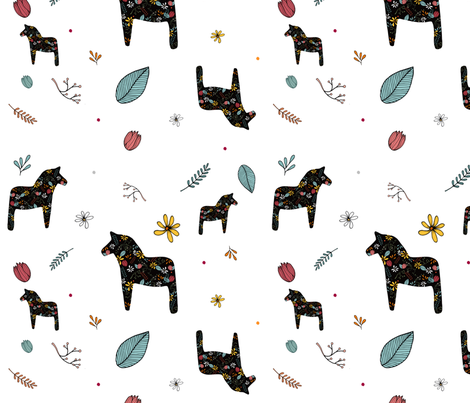 DALA HORSES black fabric by urbanblossoms on Spoonflower - custom fabric