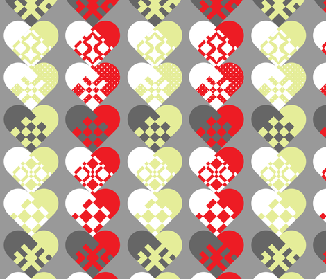 Christmas Danish Paper Hearts fabric by goatfeatherfarm on Spoonflower - custom fabric