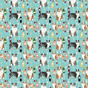 SMALL  - australian shepherd dog fabric dogs and wine design - red merle and blue merle dogs - light blue
