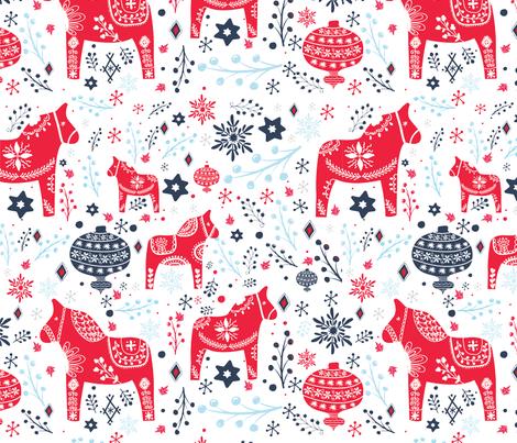 Dala Horses fabric by cacostadesign on Spoonflower - custom fabric