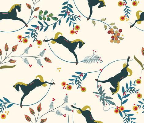 rockin' horses fabric by liluna on Spoonflower - custom fabric