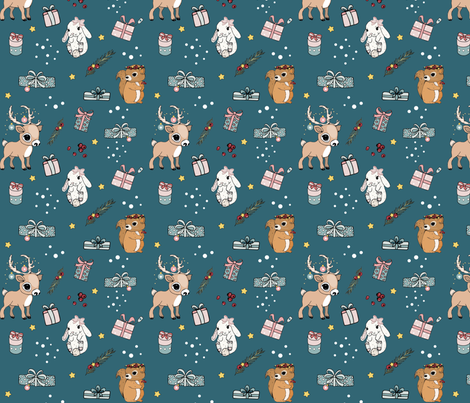 Bunny, Reindeer and Squirrel Christmas blue fabric by urbanblossoms on Spoonflower - custom fabric