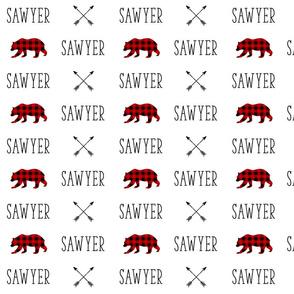 Personalized Name - Woodland Bear Buffalo Plaid & Arrows - Sawyer