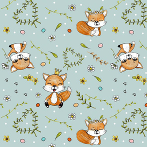 happy foxes  & dots on blue