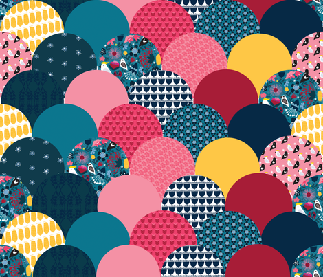 'Australiana' collection - scallop quilt fabric by bound_textiles on Spoonflower - custom fabric