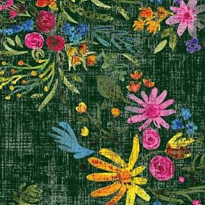 Loose Whispy Floral - Distressed