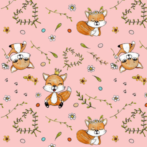 happy foxes & dots on blush