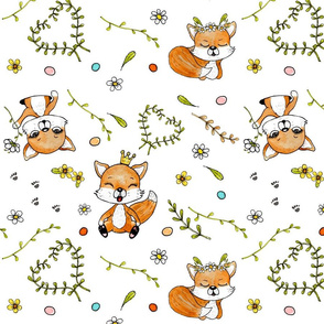 happy foxes & dots on white