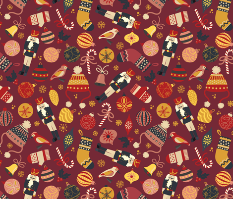 Retro Christmas Ornaments fabric by sandra_hutter_designs on Spoonflower - custom fabric