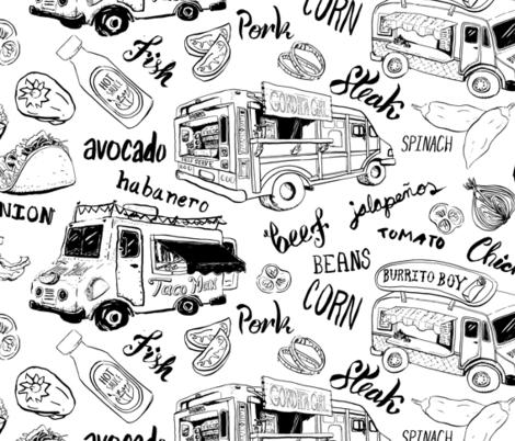 Large Scale Fleet of Taco Trucks fabric by nicoledobbins on Spoonflower - custom fabric
