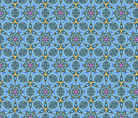 Art Nouveau Blue Floral fabric by vinpauld on Spoonflower - custom fabric