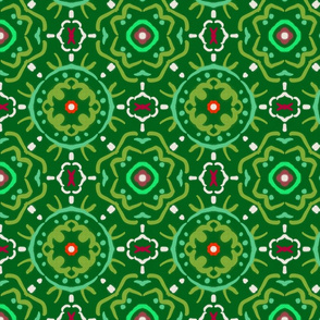Green Red and White Tile