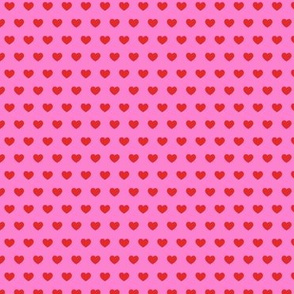 small hearts - red on pink
