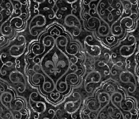 Monochrome Black & Silver Fleur de Lis Damask fabric by fharryn on Spoonflower - custom fabric