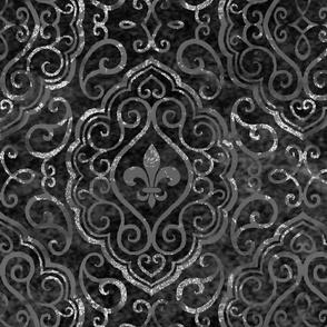 Monochrome Black & Silver Fleur de Lis Damask